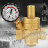 Brass Water Pressure Regulator Valve PN1.6 Dual Scale Gauge Set NPT 1/2 - Morealis