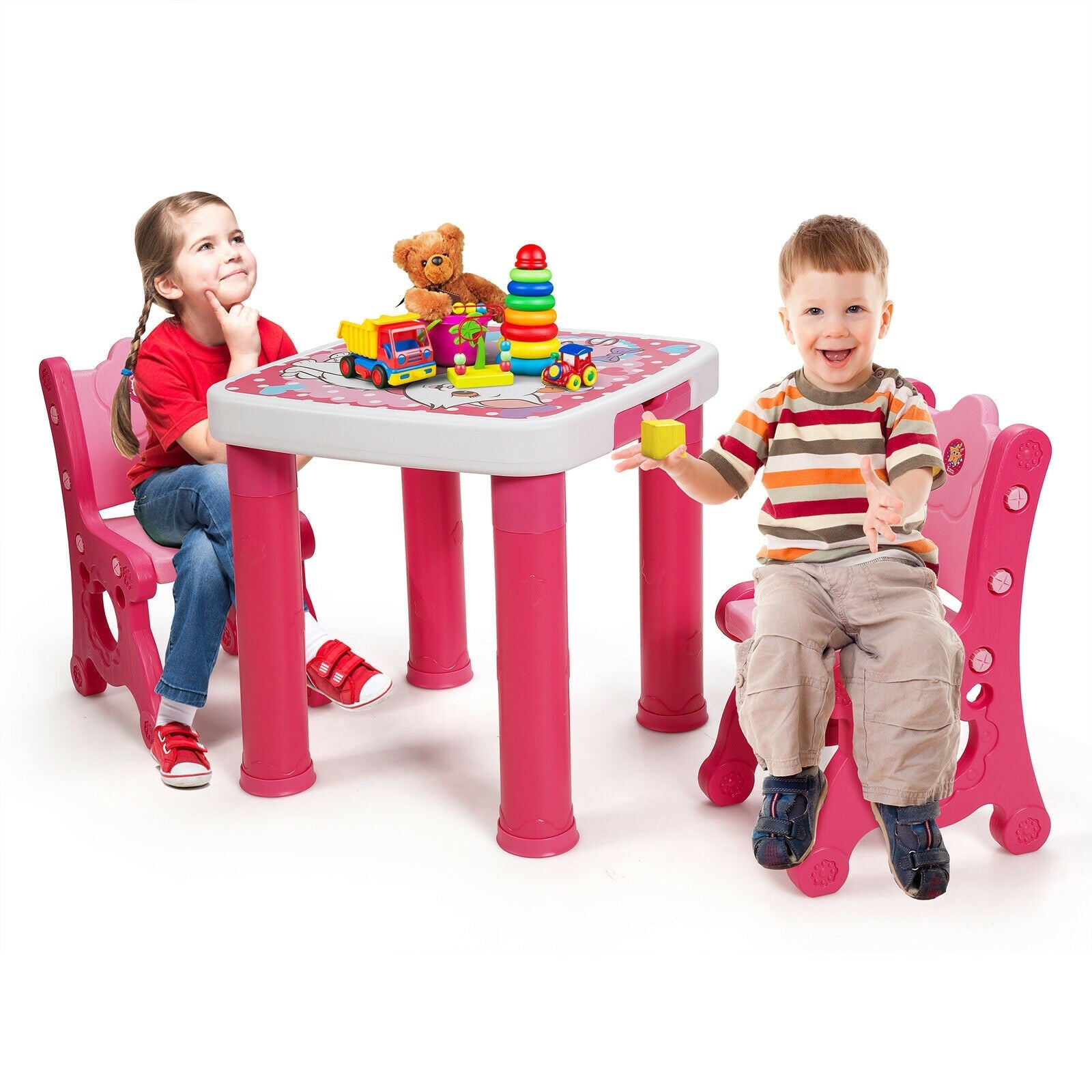 Deluxe Kids Activity Play Table and 2 Chairs Set with Storage Drawer - Morealis