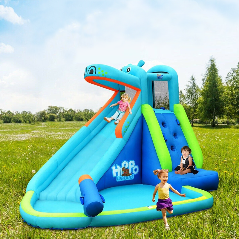 Fun Hippo Inflatable Water Slide Kids Blow Up Bouncy House Pool Slide - Morealis