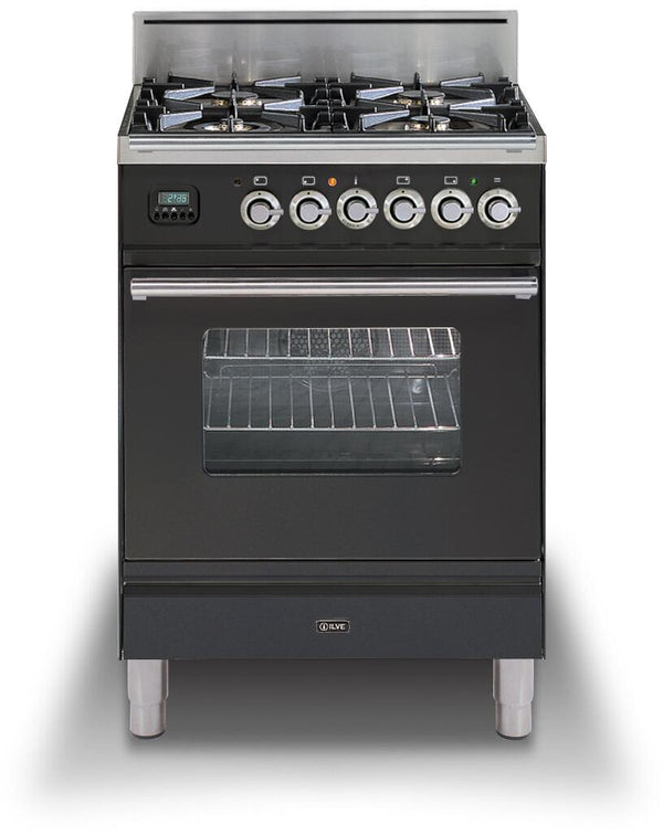 ILVE 24 Inch Professional Plus Series Freestanding Single Oven Gas Range with 4 Sealed Burners (UPW60DV) - Chrome Trim