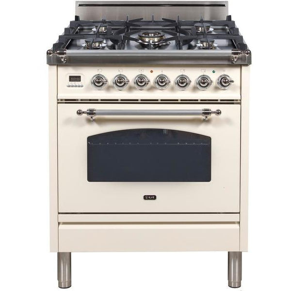 ILVE 30 Inch Nostalgie Series Freestanding Single Oven Gas Range with 5 Sealed Burners (UPN76DV)