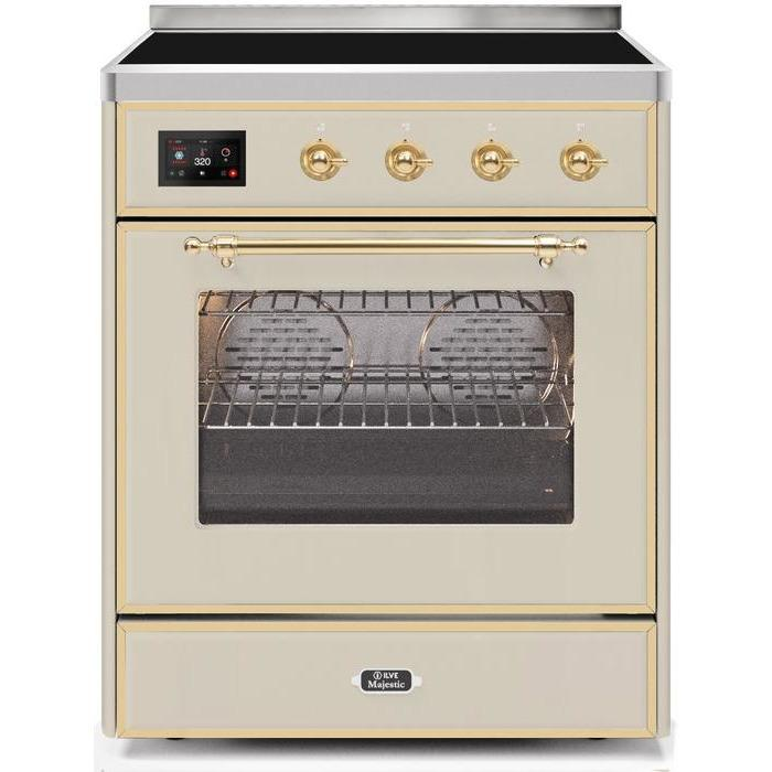 ILVE - Majestic II Series - 30 Inch Electric Freestanding Single Oven Range (UMI30NE3) - Antique White Brass