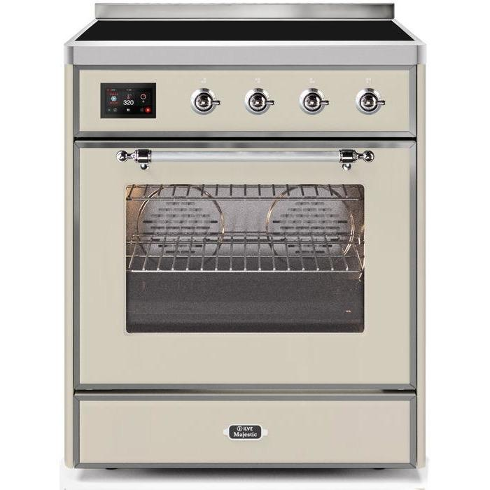 ILVE - Majestic II Series - 30 Inch Electric Freestanding Single Oven Range (UMI30NE3) - Antique White Chrome