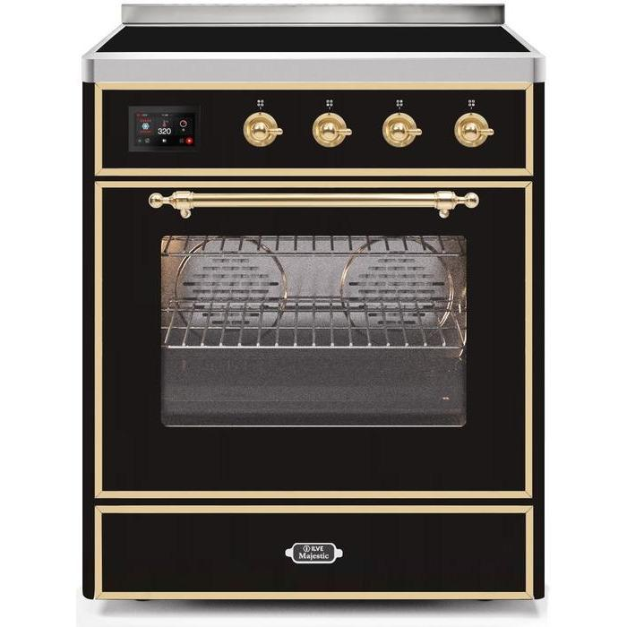 ILVE - Majestic II Series - 30 Inch Electric Freestanding Single Oven Range (UMI30NE3) - Glossy Black with Brass Trim