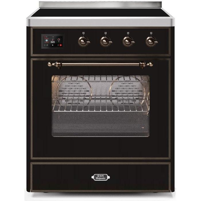ILVE - Majestic II Series - 30 Inch Electric Freestanding Single Oven Range (UMI30NE3) - Glossy Black with Bronze Trim