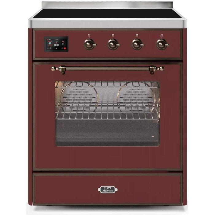 ILVE - Majestic II Series - 30 Inch Electric Freestanding Single Oven Range (UMI30NE3) - Burgundy with Bronze Trim