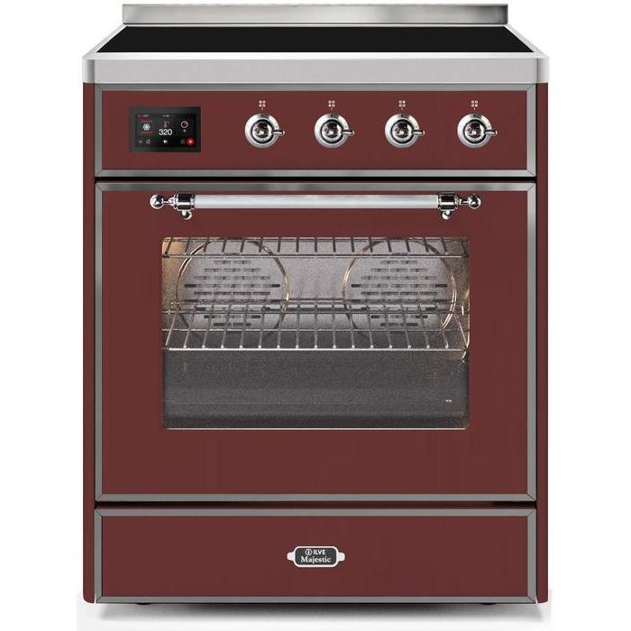 ILVE - Majestic II Series - 30 Inch Electric Freestanding Single Oven Range (UMI30NE3) - Burgundy with ChromeTrim