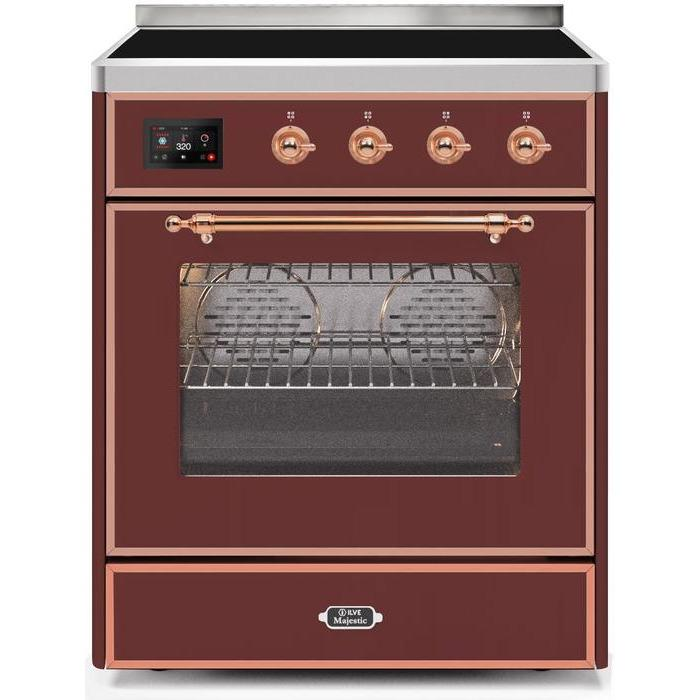 ILVE - Majestic II Series - 30 Inch Electric Freestanding Single Oven Range (UMI30NE3) - Burgundy with Copper Trim