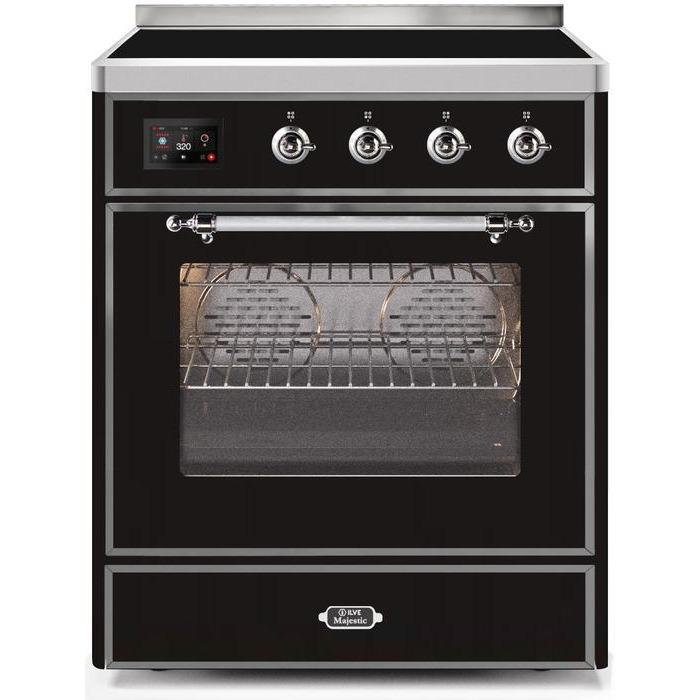ILVE - Majestic II Series - 30 Inch Electric Freestanding Single Oven Range (UMI30NE3) - Glossy Black with Chrome Trim