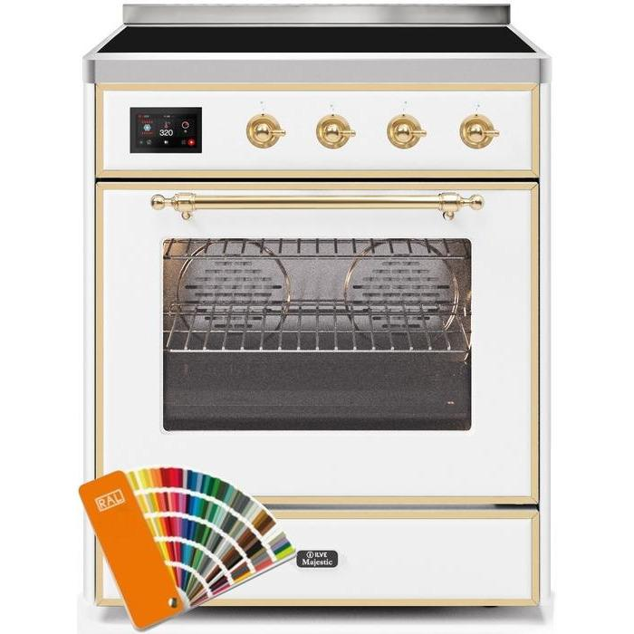 ILVE - Majestic II Series - 30 Inch Electric Freestanding Single Oven Range (UMI30NE3) - Custom RAL Color with Brass Trim