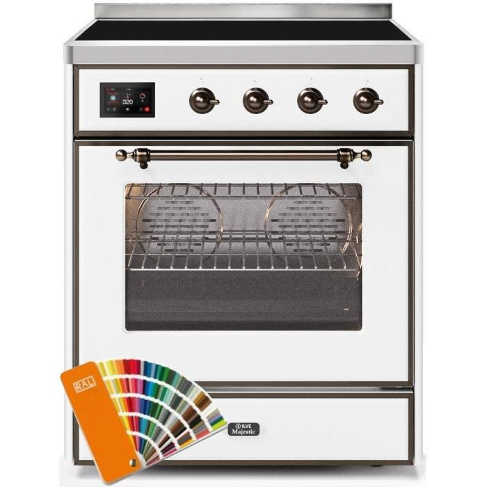 ILVE - Majestic II Series - 30 Inch Electric Freestanding Single Oven Range (UMI30NE3) - Custom RAL Color with Bronze Trim