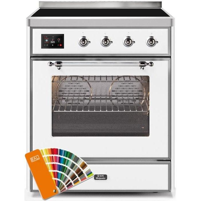 ILVE - Majestic II Series - 30 Inch Electric Freestanding Single Oven Range (UMI30NE3) - Custom RAL Color with Chrome Trim