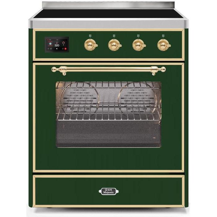ILVE - Majestic II Series - 30 Inch Electric Freestanding Single Oven Range (UMI30NE3) - Emerald Green with Brass Trim