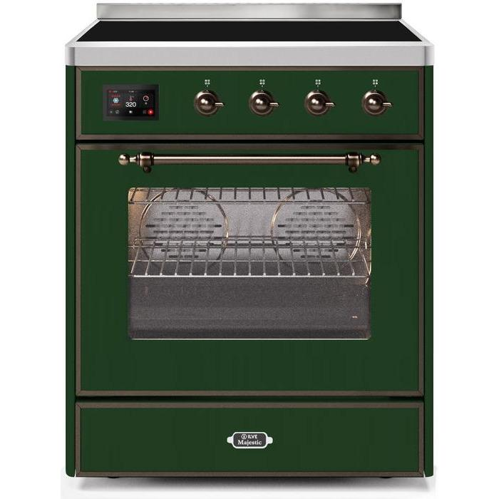 ILVE - Majestic II Series - 30 Inch Electric Freestanding Single Oven Range (UMI30NE3) - Emerald Green with Bronze Trim