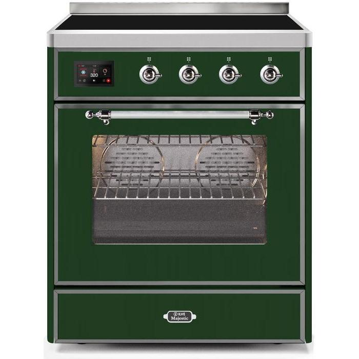 ILVE - Majestic II Series - 30 Inch Electric Freestanding Single Oven Range (UMI30NE3) - Emerald Green with Chrome Trim