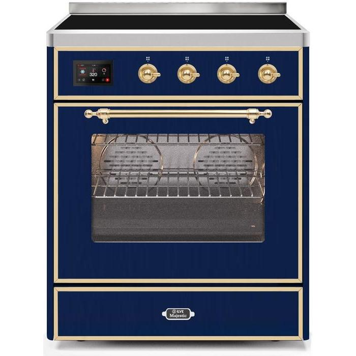 ILVE - Majestic II Series - 30 Inch Electric Freestanding Single Oven Range (UMI30NE3) - Midnight Blue with Brass Trim