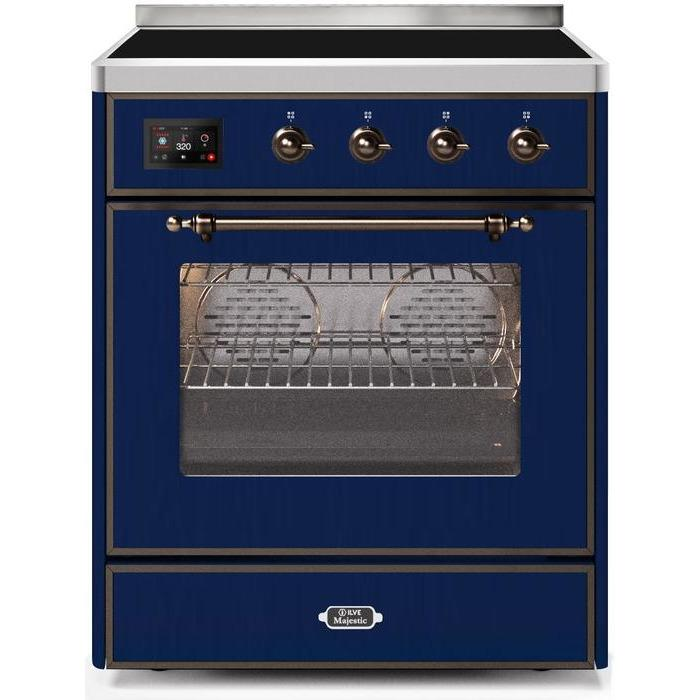 ILVE - Majestic II Series - 30 Inch Electric Freestanding Single Oven Range (UMI30NE3) - Midnight Blue with Bronze Trim
