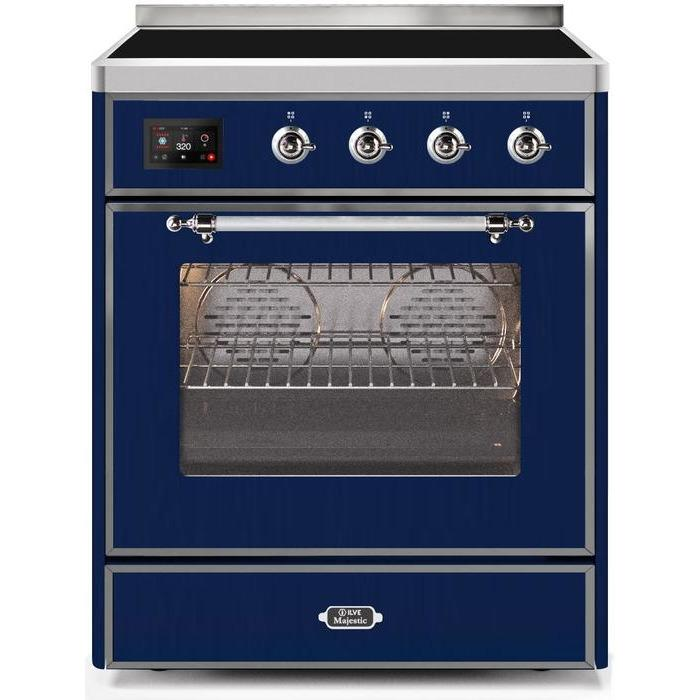 ILVE - Majestic II Series - 30 Inch Electric Freestanding Single Oven Range (UMI30NE3) - Midnight Blue with Chrome Trim