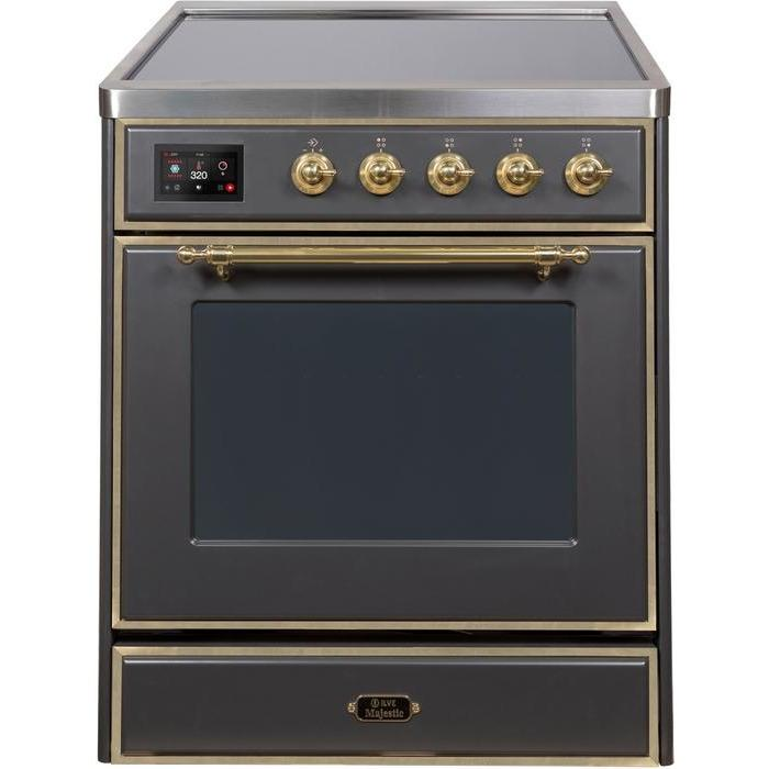 ILVE - Majestic II Series - 30 Inch Electric Freestanding Single Oven Range (UMI30NE3) - Matte Graphite with Brass Trim
