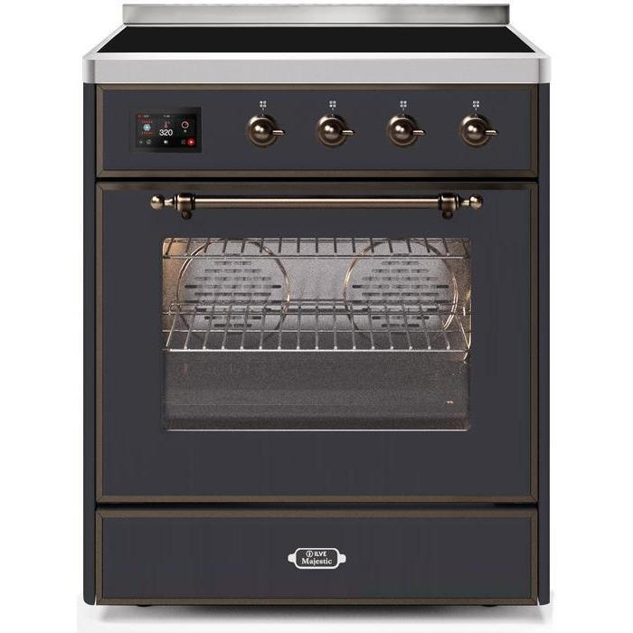 ILVE - Majestic II Series - 30 Inch Electric Freestanding Single Oven Range (UMI30NE3) - Matte Graphite with Bronze Trim