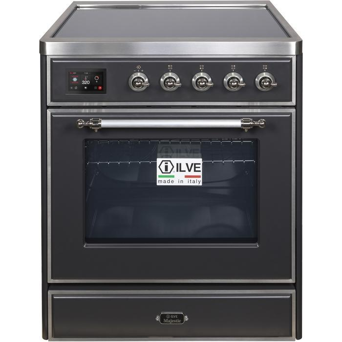 ILVE - Majestic II Series - 30 Inch Electric Freestanding Single Oven Range (UMI30NE3) - Matte Graphite with Chrome Trim