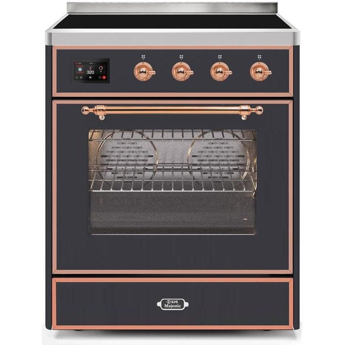 ILVE - Majestic II Series - 30 Inch Electric Freestanding Single Oven Range (UMI30NE3) - Matte Graphite with Copper Trim