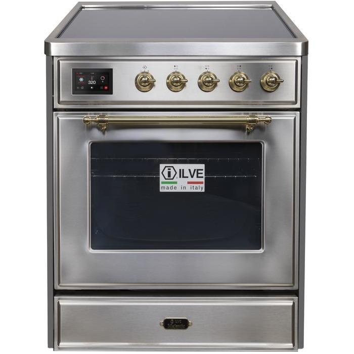 ILVE - Majestic II Series - 30 Inch Electric Freestanding Single Oven Range (UMI30NE3) - Stainless Steel with Brass Trim
