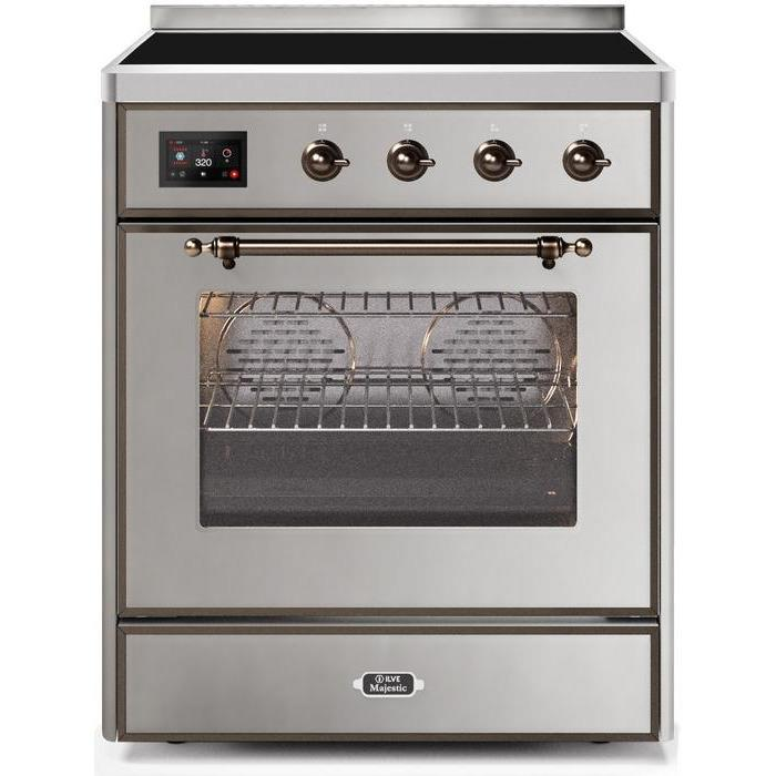 ILVE - Majestic II Series - 30 Inch Electric Freestanding Single Oven Range (UMI30NE3) - Stainless Steel with Bronze Trim