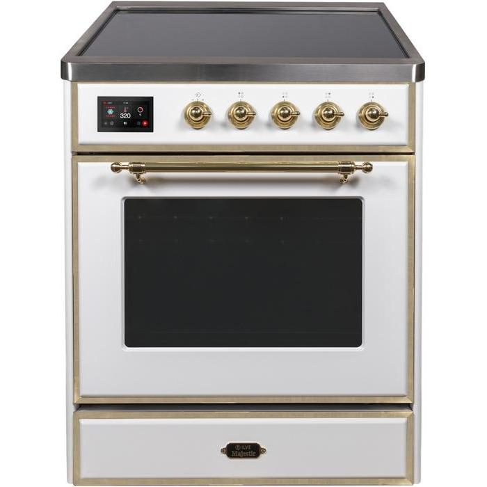 ILVE - Majestic II Series - 30 Inch Electric Freestanding Single Oven Range (UMI30NE3) - White with Brass Trim