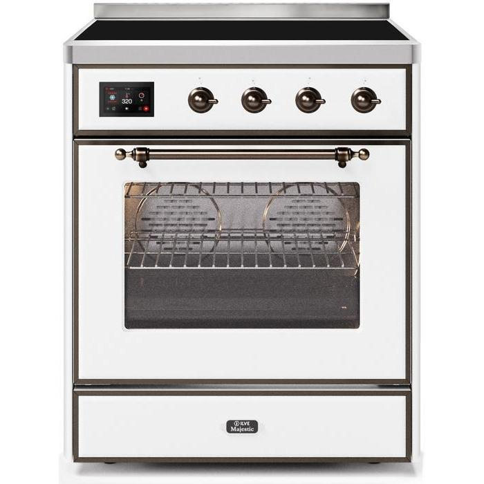 ILVE - Majestic II Series - 30 Inch Electric Freestanding Single Oven Range (UMI30NE3) - White with Bronze Trim