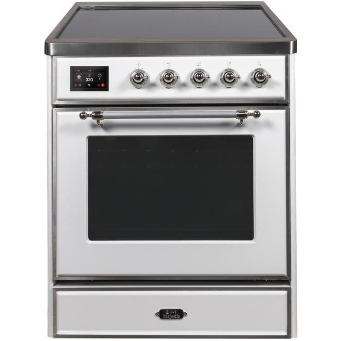 ILVE - Majestic II Series - 30 Inch Electric Freestanding Single Oven Range (UMI30NE3) - White with Chrome Trim