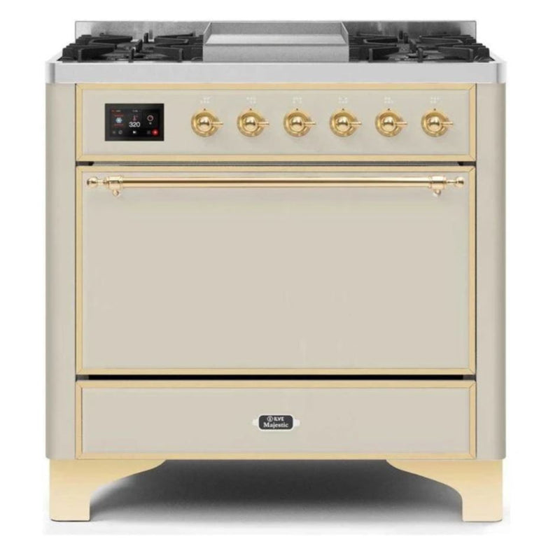 ILVE 36 Inch Majestic II Series Natural/ Propane Gas Burner and Electric Oven Range with 6 Sealed Burners (UM09FDQNS3) - Antique White with Brass Trim