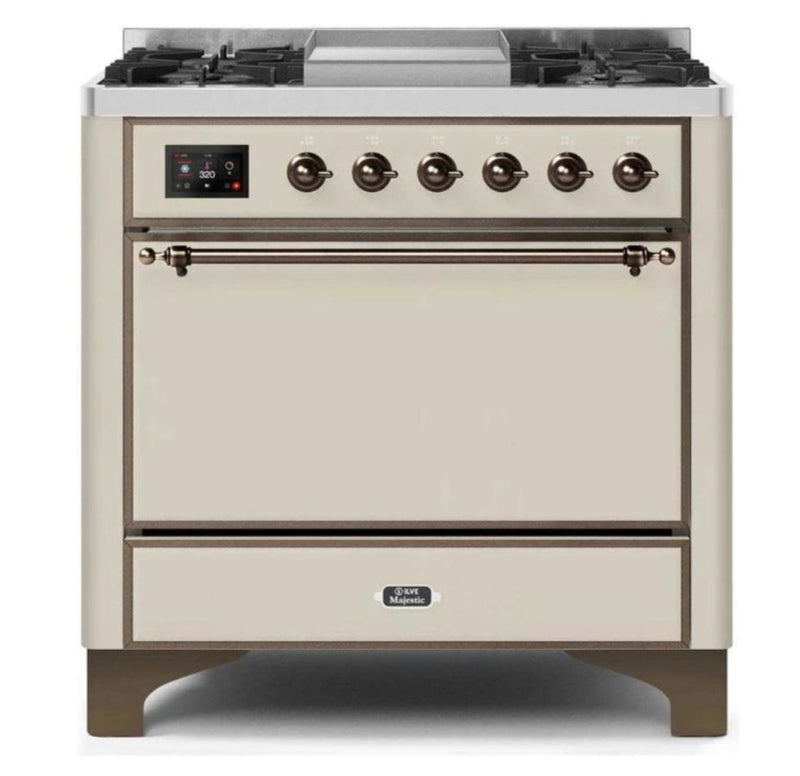 ILVE 36 Inch Majestic II Series Natural/ Propane Gas Burner and Electric Oven Range with 6 Sealed Burners (UM09FDQNS3) - Antique White with Bronze Trim