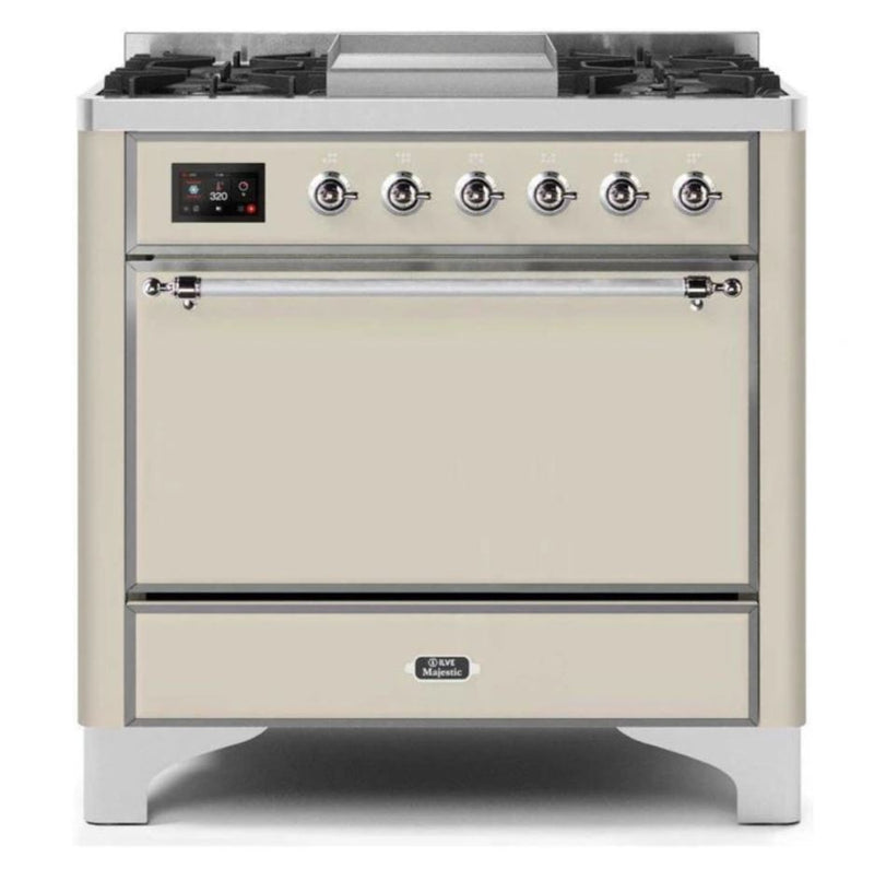 ILVE 36 Inch Majestic II Series Natural/ Propane Gas Burner and Electric Oven Range with 6 Sealed Burners (UM09FDQNS3) - Antique White with Chrome Trim