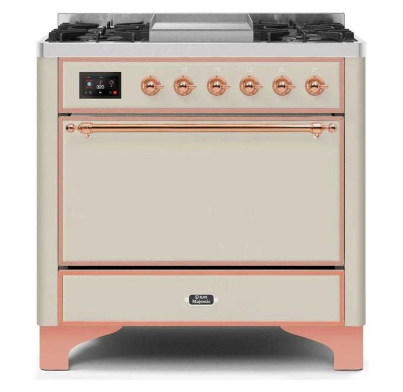 ILVE 36 Inch Majestic II Series Natural/ Propane Gas Burner and Electric Oven Range with 6 Sealed Burners (UM09FDQNS3) - Antique White with Copper Trim