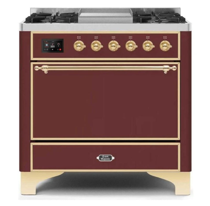 ILVE 36 Inch Majestic II Series Natural/ Propane Gas Burner and Electric Oven Range with 6 Sealed Burners (UM09FDQNS3) - Burgundy with Brass Trim