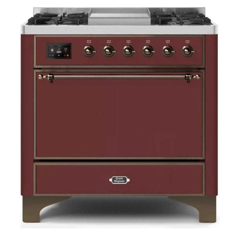 ILVE 36 Inch Majestic II Series Natural/ Propane Gas Burner and Electric Oven Range with 6 Sealed Burners (UM09FDQNS3) - Burgundy with Bronze Trim