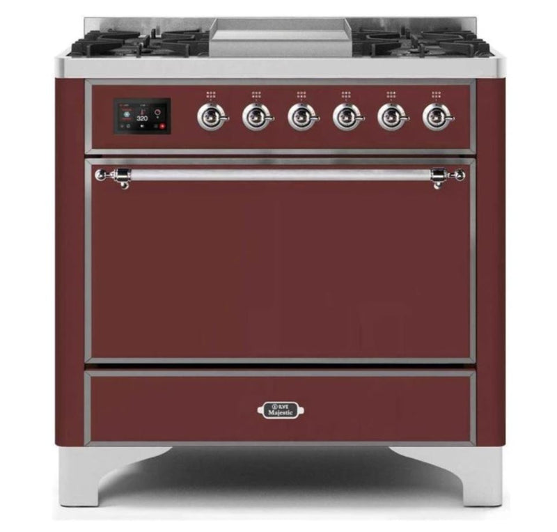 ILVE 36 Inch Majestic II Series Natural/ Propane Gas Burner and Electric Oven Range with 6 Sealed Burners (UM09FDQNS3) - Burgundy with Chrome Trim