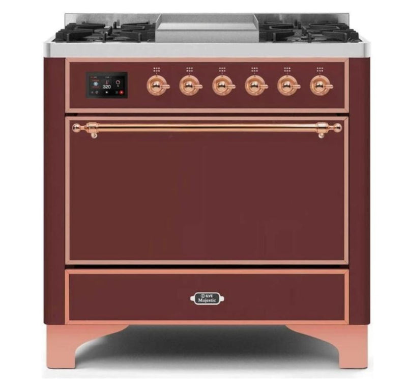 ILVE 36 Inch Majestic II Series Natural/ Propane Gas Burner and Electric Oven Range with 6 Sealed Burners (UM09FDQNS3) - Burgundy with Copper Trim