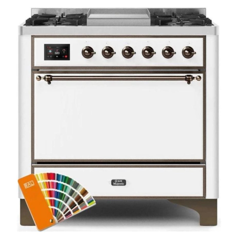 ILVE 36 Inch Majestic II Series Natural/ Propane Gas Burner and Electric Oven Range with 6 Sealed Burners (UM09FDQNS3) - Custom RAL Color with Bronze Trim