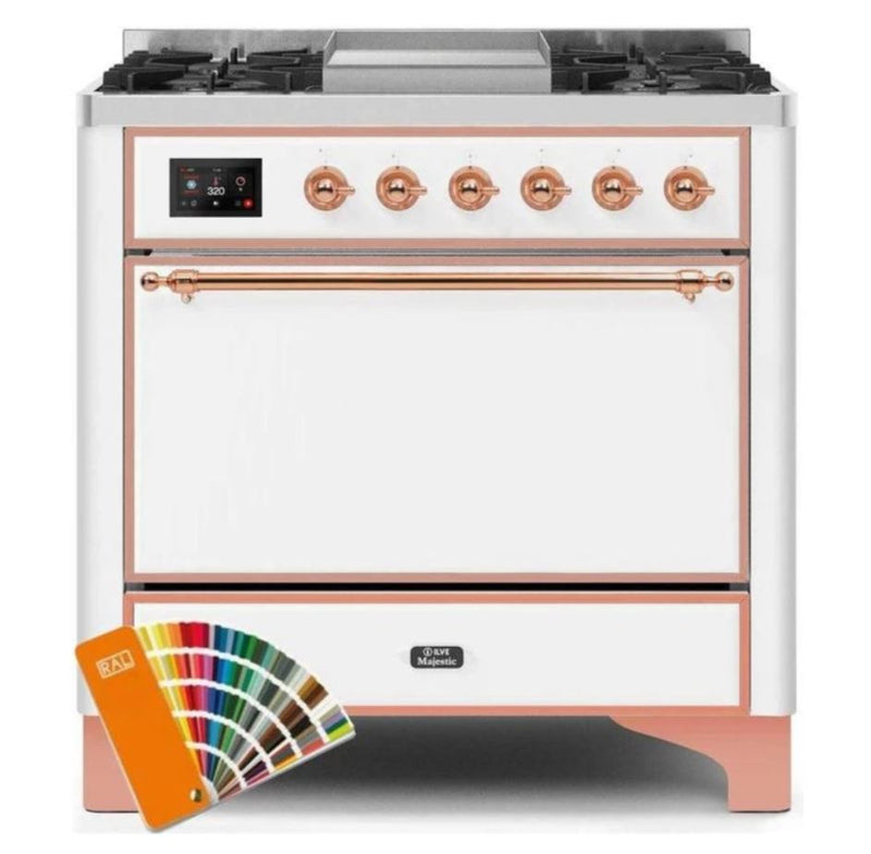 ILVE 36 Inch Majestic II Series Natural/ Propane Gas Burner and Electric Oven Range with 6 Sealed Burners (UM09FDQNS3) - Custom RAL Color with Copper Trim