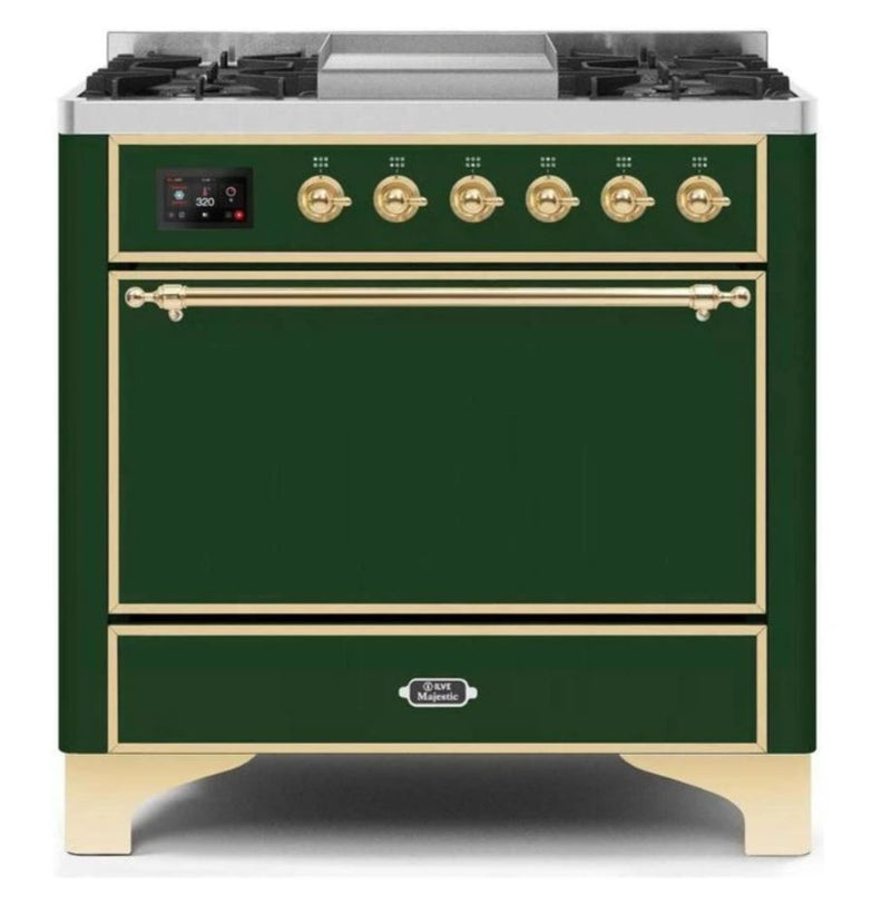 ILVE 36 Inch Majestic II Series Natural/ Propane Gas Burner and Electric Oven Range with 6 Sealed Burners (UM09FDQNS3) - Emerald Green with Brass Trim