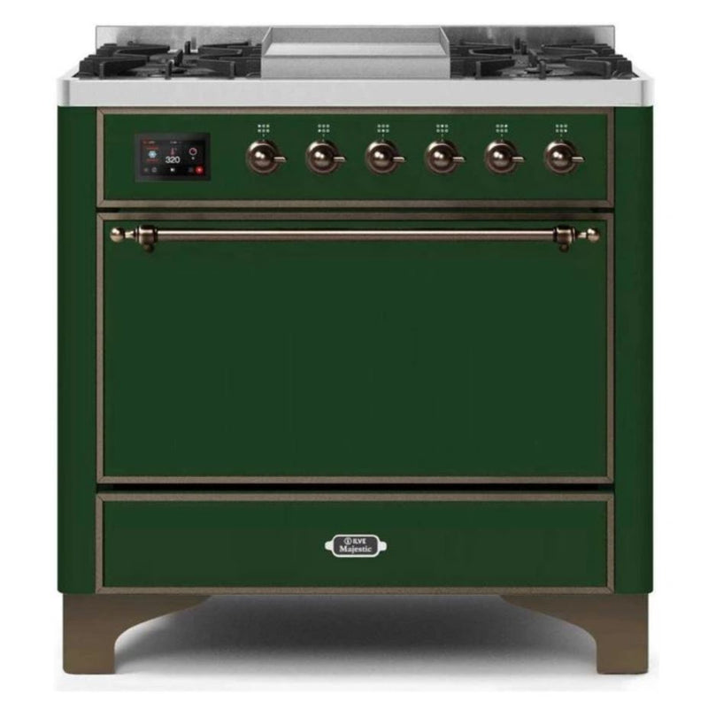 ILVE 36 Inch Majestic II Series Natural/ Propane Gas Burner and Electric Oven Range with 6 Sealed Burners (UM09FDQNS3) - Emerald Green with Bronze Trim