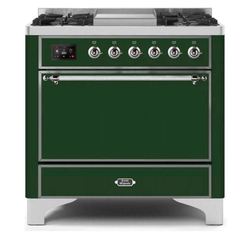 ILVE 36 Inch Majestic II Series Natural/ Propane Gas Burner and Electric Oven Range with 6 Sealed Burners (UM09FDQNS3) - Emerald Green with Chrome Trim