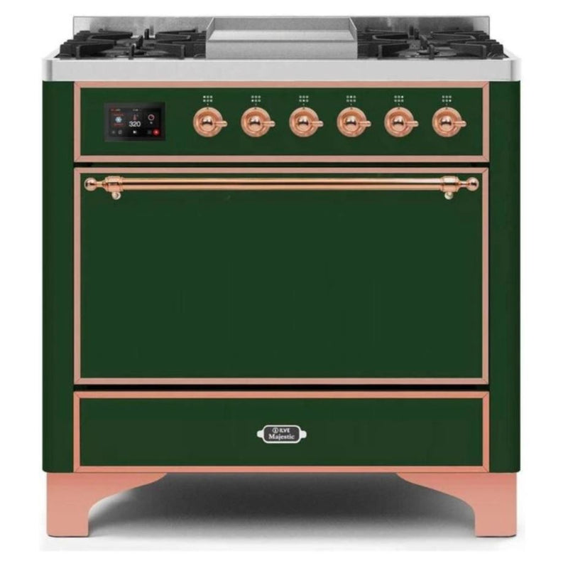 ILVE 36 Inch Majestic II Series Natural/ Propane Gas Burner and Electric Oven Range with 6 Sealed Burners (UM09FDQNS3) - Emerald Green with Copper Trim
