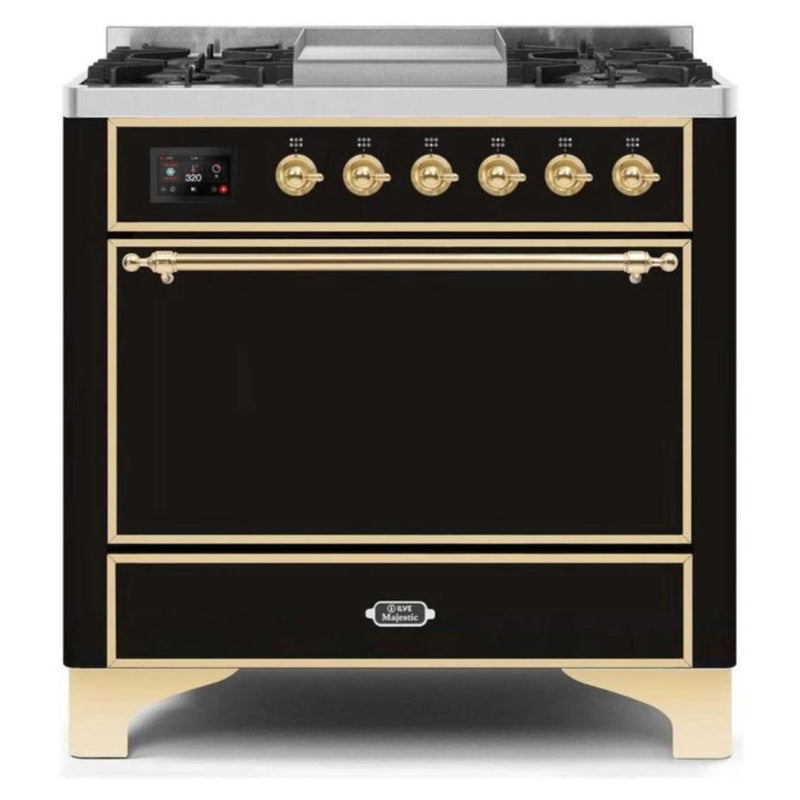 ILVE 36 Inch Majestic II Series Natural/ Propane Gas Burner and Electric Oven Range with 6 Sealed Burners (UM09FDQNS3) - Glossy Black with Brass Trim