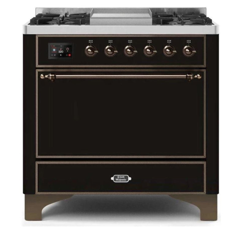 ILVE 36 Inch Majestic II Series Natural/ Propane Gas Burner and Electric Oven Range with 6 Sealed Burners (UM09FDQNS3) - Glossy Black with Bronze Trim