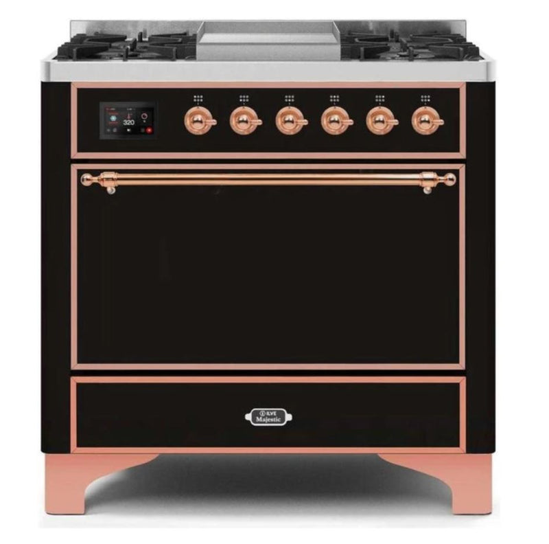 ILVE 36 Inch Majestic II Series Natural/ Propane Gas Burner and Electric Oven Range with 6 Sealed Burners (UM09FDQNS3) - Glossy Black with Copper Trim