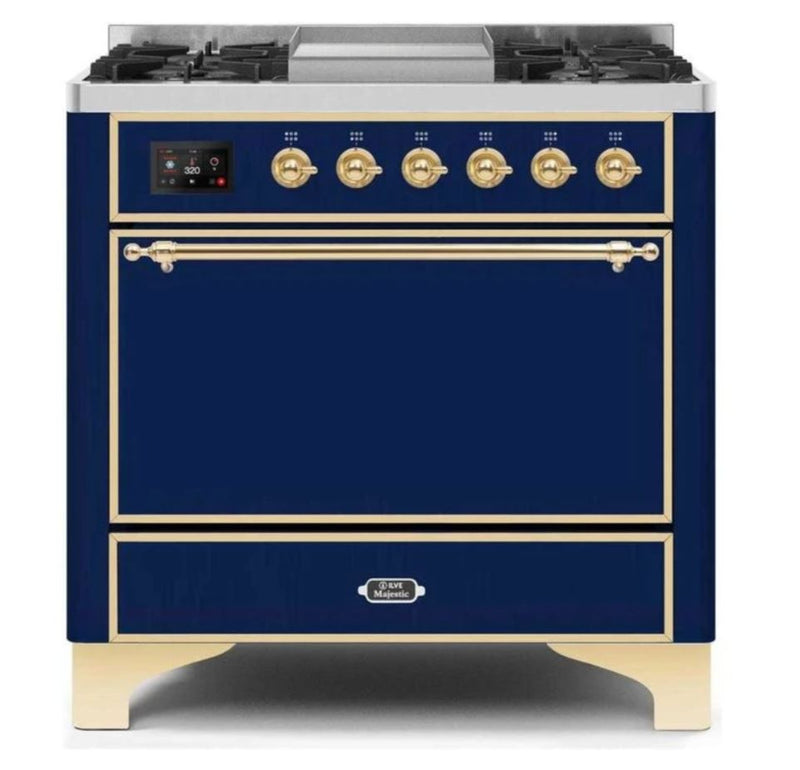 ILVE 36 Inch Majestic II Series Natural/ Propane Gas Burner and Electric Oven Range with 6 Sealed Burners (UM09FDQNS3) - Midnight Blue with Brass Trim