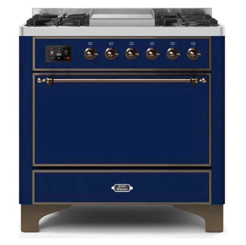 ILVE 36 Inch Majestic II Series Natural/ Propane Gas Burner and Electric Oven Range with 6 Sealed Burners (UM09FDQNS3) - Midnight Blue with Bronze Trim